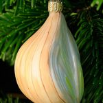 White Onion Glass Ornament